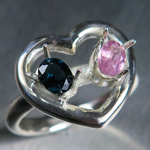Natural Spinel 925 Silver / Gold/ Platinum heart ring