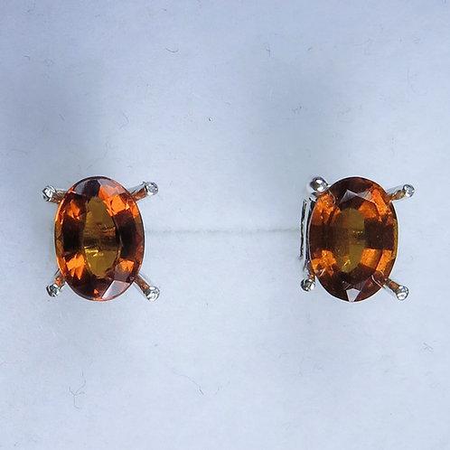 2.2cts Natural Hessonite Garnet Cinnamon orange Silver /Gold stud earrings
