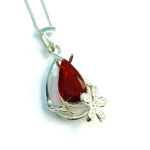 1.6ct Natural Fire Cherry red Opal Silver / Gold / Platinum pendant on