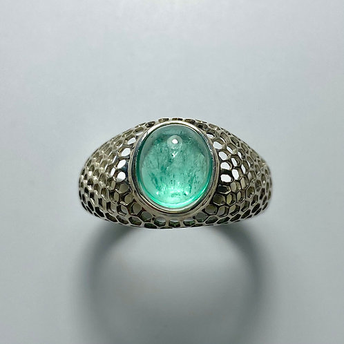2.4cts Natural Green Emerald 925 Silver / Gold/ Platinum unisex ring