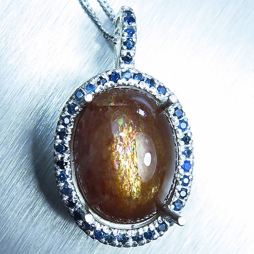 11.3cts Natural Sunstone, cat's eye Silver / Gold / Platinum pendant on