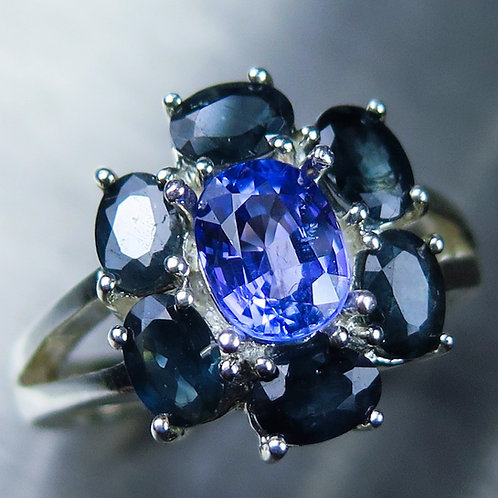 1.45ct Natural Tanzanite & sapphires 925 Silver / Gold/ Platinum ring