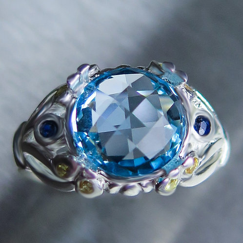 4.30ct Natural Swiss Blue Topaz 925 Silver / Gold/ Platinum ring