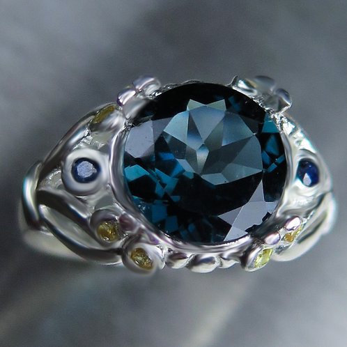 3.65ct Natural London Blue Topaz 925 Silver / Gold/ Platinum ring
