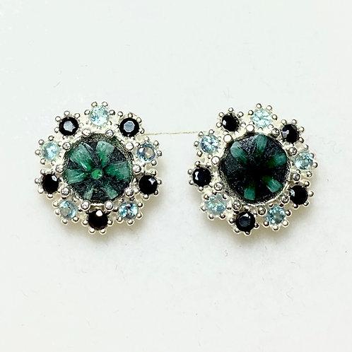 Natural Trapiche Emerald Silver /Gold bezel stud earrings