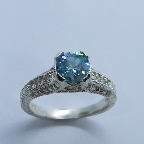 1.15ct Natural Blue Zircon & Diamond 925 Silver / Gold/ Platinum ring