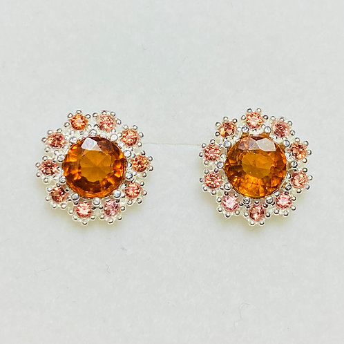 2.45ct Natural Hessonite Silver /Gold stud earrings cluster halo