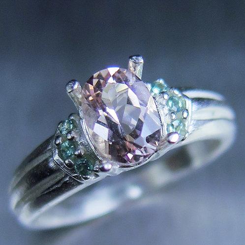 1ct Natural ligh Pink Morganite Beryl 925 Silver / Gold/ Platinum ri