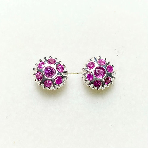 Natural Red Ruby Silver/ Gold/Platinum stud earrings
