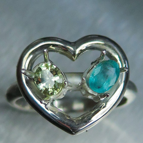 Natural Emerald, Chrysberyl 925 Silver / Gold/ Platinum heart ring