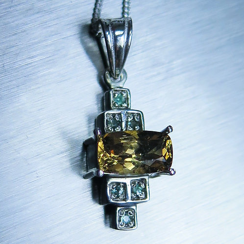 1.35ct Natural colour change Axinite Silver / Gold / Platinum art deco pendant