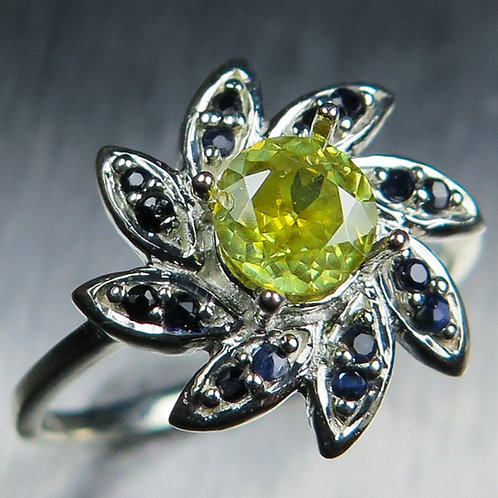 Natural Sphalerite 925 Silver / Gold/ Platinum ring