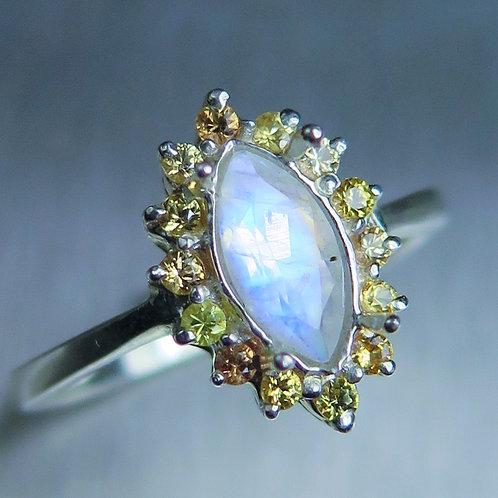 0.55ct Natural Rainbow Moonstone 925 Silver / Gold/ Platinum ring