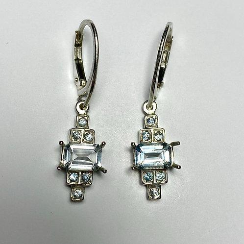 Natural Aquamarine Silver /Gold / Platinum dangling earrings drop art deco