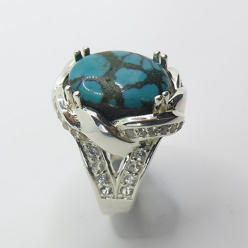 7.5cts Natural Turquoise 925 Silver/ Gold/ Platinum ring