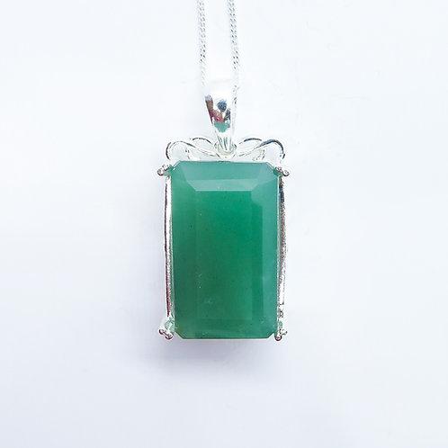 21.2ct Natural Green Aventurine Silver / Gold / Platinum pendant