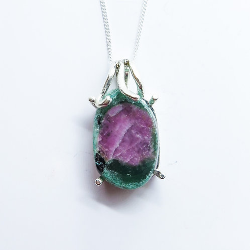 9.45ct Natural Ruby Zoisite Silver / Gold / Platinum pendant on chain