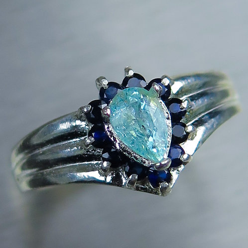 0.45ct Natural Paraiba Blue Tourmaline 925 Silver / Gold/ Platinum ring
