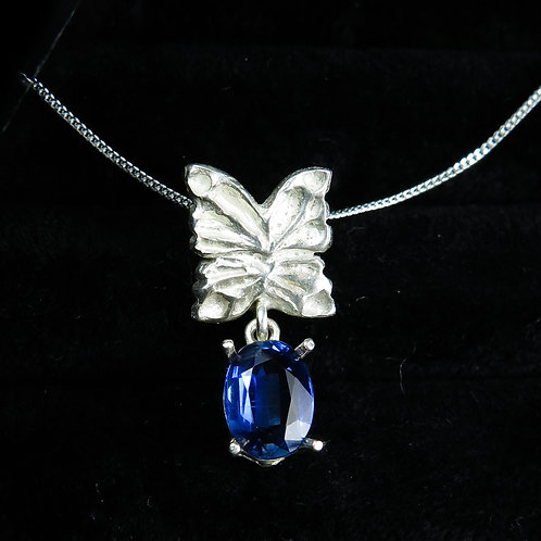 1.7cts Natural Kyaniteroyal blue 925 Silver butterfly pendant