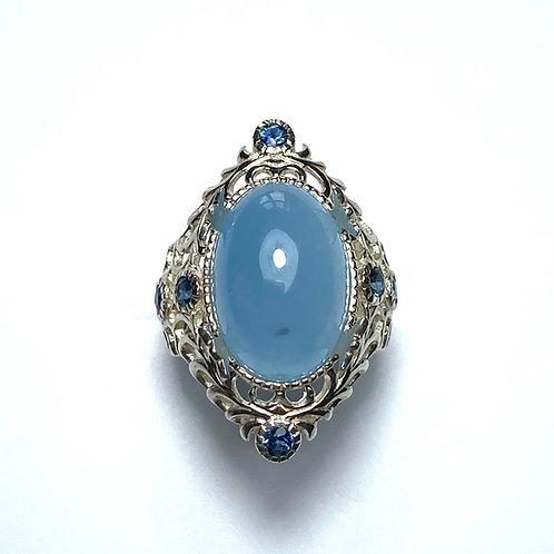 11.4cts Natural blue Aquamarine 925 Silver / Gold/ Platinum ring
