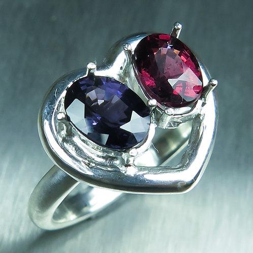 Natural Rhodolite Garnet & Spinel 925 Silver / Gold/ Platinum ring