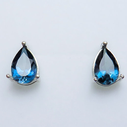 2.7ct Natural London blue Topaz Silver /Gold pear stud earrings