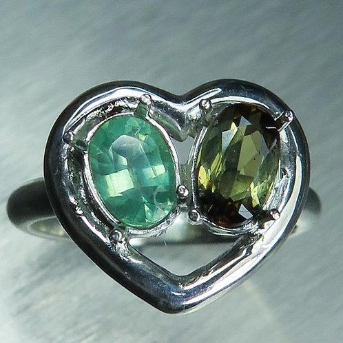 Natural Andalusite & Kyanite 925 Silver / Gold/ Platinum ring