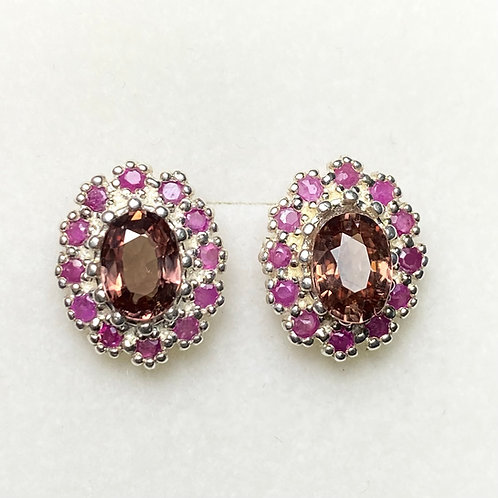 Natural Colour change Malaya Garnet 925 Silver/ Gold /Platinum earrings