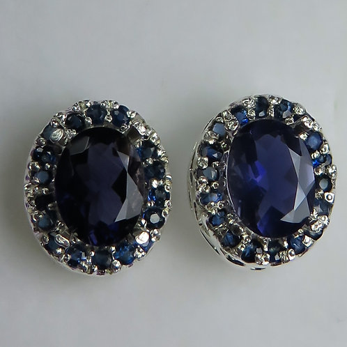 2.1cts Natural pleochroic violet blue Iolite 925 Silver/ Gold/Platinum earrings