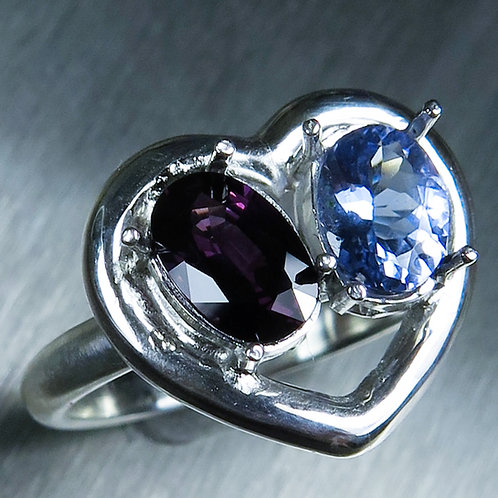 Natural Spinel & Tanzanite 925 Silver / Gold/ Platinum heart ring