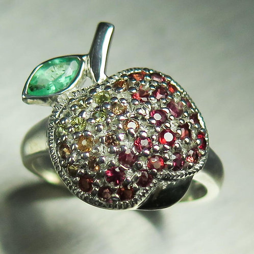Natural Green Emerald & sapphire 925 Silver / Gold/ Platinum ring