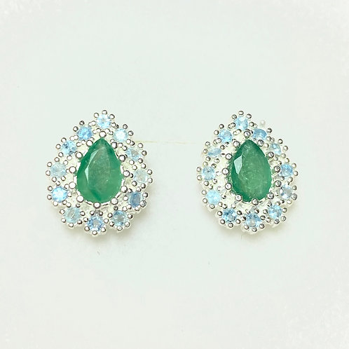 Natural Colombian Emerald Silver /Gold / Platinum earrings studs halo cluster