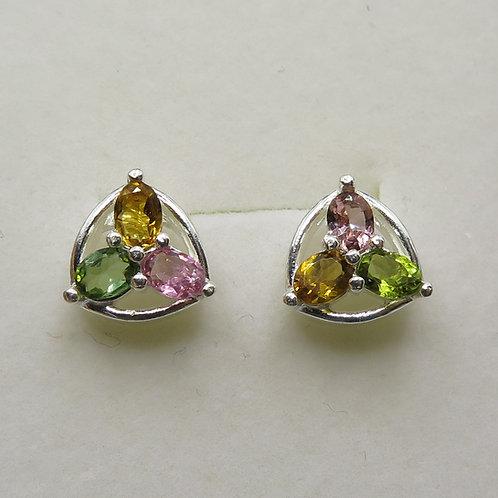 Natural tourmaline Silver/ Gold/Platinum clover stud studs earrings