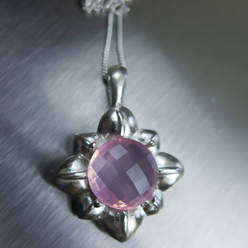 5.1cts Natural pink rose Quartz Silver / Gold / Platinum pendant