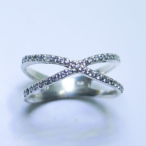 Natural Diamonds 925 Silver / Gold/ Platinum wedding band Infinity X ring