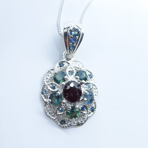 0.76ct Natural dark Red Ruby Silver / Gold / Platinum pendant on chain