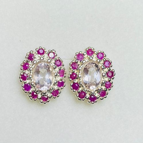 Natural Morganite 925 Silver/ Gold /Platinum earrings