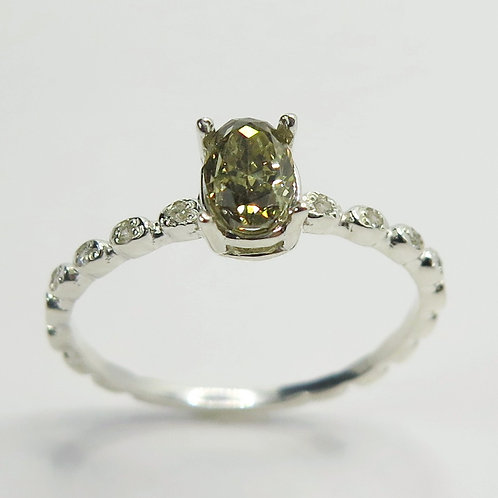 Natural Champagne Diamond 925 Silver / Gold/ Platinum engagement ring