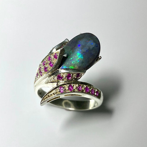 3cts Natural Australian Black Opal 925 Silver / Gold/ Platinum ring