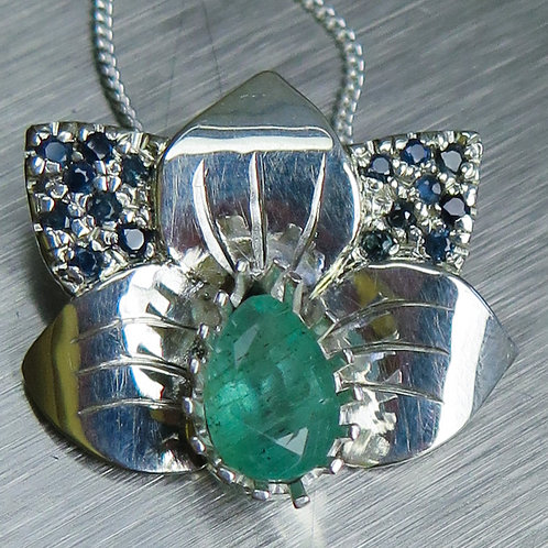 Natural Colombian Emerald 925 Silver / Gold / Platinum orchid pend