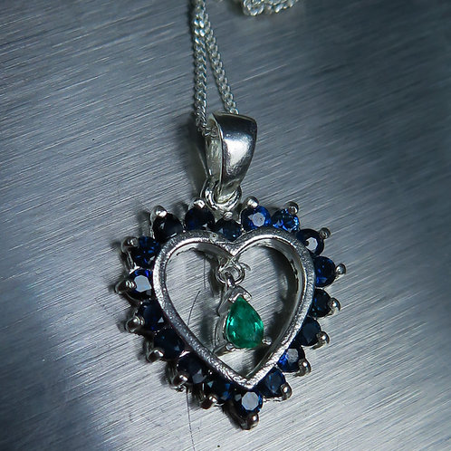 Natural Emerald 925 Sterling Silver heart pendant