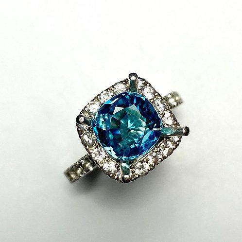 3.4ct Natural Paraiba Blue Zircon 925 Silver / Gold/ Platinum ring