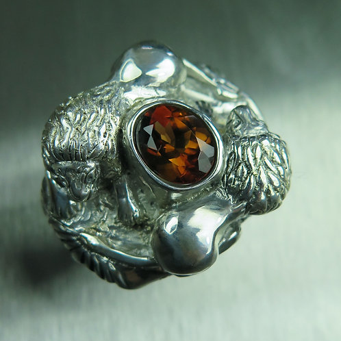 3.3cts Natural Imperial topaz 925 Silver / Gold/ Platinum lion ring