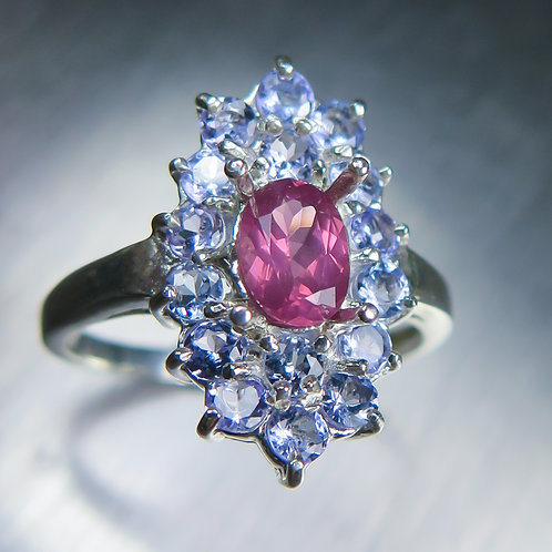 1.35cts Natural pink red Spinel 925 Silver / Gold/ Platinum ring