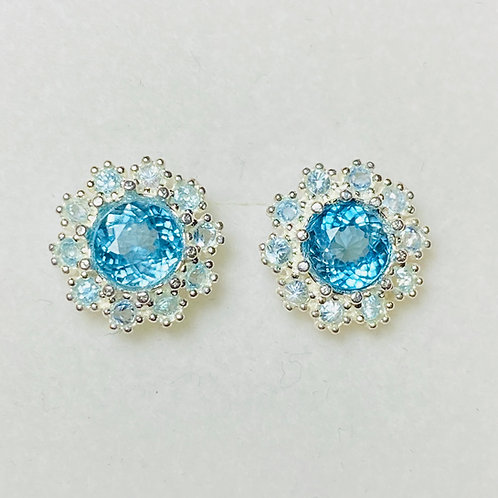 2.2ct Natural Paraiba zircon Silver /Gold halo stud earrings cluster