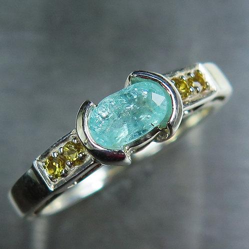 0.55cts Natural paraiba blue tourmaline 925 Silver / Gold/ Platinum ring
