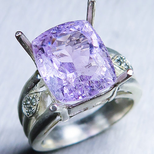 8.35cts Natural vivid pink Kunzite 925 Silver / Gold/ Platinum ring