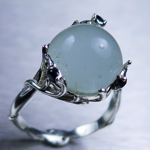 7.2cts Natural Cat's eye Aquamarine 925 Silver / Gold/ Platinum ring