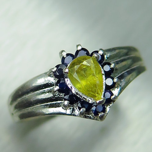 Natural Titanite Sphene 925 Silver / Gold/ Platinum ring