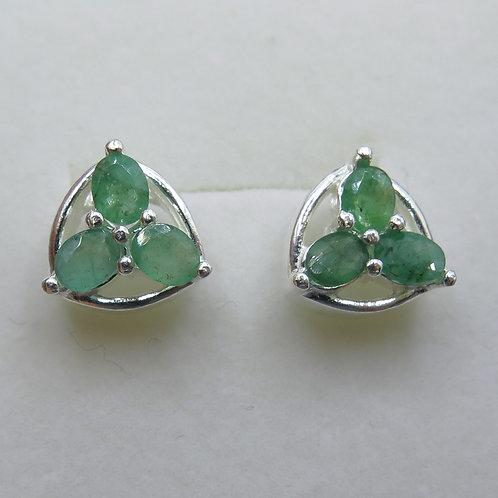 Natural emerald Silver/ Gold/Platinum clover stud studs earrings